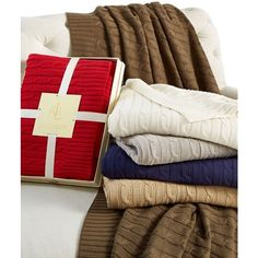 Lauren Ralph Lauren Cable Knit Throw, 100% Cotton ($160) ❤ liked on Polyvore featuring home, bed & bath, bedding, blankets, grey, gray cable knit throw, grey throw blanket, gray blanket, cotton throws and gray bedding