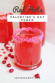 This Valentine's Day punch is delicious and made with Red Hots candy! The perfect punch recipe for a Valentine party at school. day party drinks Red Hots Valentine's Day Punch Recipe - Seeing Dandy Valentine Punch Recipe, Valentine Drinks, Valentines Day Treats, Valentine Party, Valentines Day Dinner, Valentine's Day Drinks, Winter Drinks, Yummy Drinks, Beverages