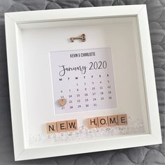 Personalised New HomeCalendar Scrabble Box Frame by CandyCaneCraftsCo on Etsy Scrabble Letter Crafts, Wooden Scrabble Tiles, Scrabble Frame, Scrabble Art, Personalised Gifts Handmade, Personalised Frames, Handmade Frames, Box Frame Art, Box Frames