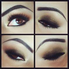 Gorgeous look for browneyes, gr8 night time look!! Very sculpted exaggerated brow, bronze, copper and gold, LOVE it all!!