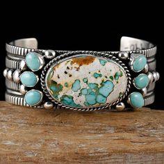 GUY HOSKIE Navajo Natural ROYSTON BOULDER Turquoise Bracelet Sterling Silver