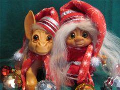 "Vintage 64 10"" Dam Things Est. Donkey Animal Troll Doll & 8"" Inge Christmas Elf!"