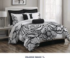 13 Piece King Calais Bedding Bed in a Bag Set Fantasy Bedroom, Home N Decor, Bed, Bed Comforters, Bedroom Decor, Black And White Furniture, Home Decor, Bed Bath And Beyond, Apartment Decor
