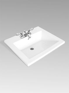 """13-0039-W Single Faucet Hole 13-0039-4W 4″ center 13-0039-8W 8″ center Soft white fire clay Rear overflow Template supplied Faucet not included Dimesnions 20¼""""(W) x 17⅛""""(D) x 7¼""""(H)"""