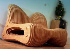 exclusive sofa in parametric style made by Denis Homyakov denishomyakov.weebly.com материал: отшлифованная тонированная фанера Material: polished