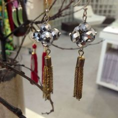Silver Bead Clusters with Gold chain tassels   Kane Women's Jewelry via: Michelle Tan - Price: $69.00