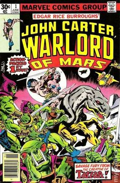 "Based on Edgar Rice Burroughs' Martian novels, John Carter Warlord of Mars ran for 28 issues. ""Air Pirates of Mars, Part 1"" finds John Carter rescuing Dejah Thoris from an army of Tharks and uncovering a plot to destroy his beloved Barsoom. Includes Welcome Back, Carter text editorial. Script by Marv Wolfman, pencils by Gil Kane, inks by Dave Cockrum. Cover by Kane and Cockrum."
