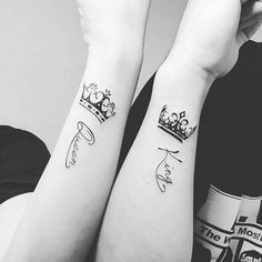 Pin for Later: 30+ Matching Tattoos For Couples Who Are in It to Win It King and Queen Crowns