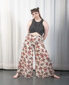 Floral Wide Trousers / White and Red / Plus Size  /  Men's & Women's Vintage Fashion