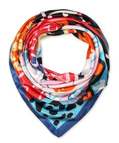 "corciova 35"" Polyester Silk Feeling Square Summer Scarf Smooth Imported Ivory With Navy $9.99 Free Shipping @Amazon.com"