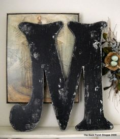 BLACK LETTER M Vintage Style 2 ft tall