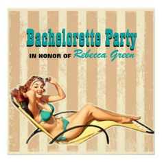 retro swimsuit pin up girl bachelorette party personalized announcements