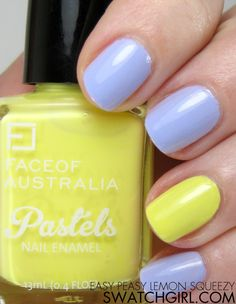Face of Australia Pastel nail polishes Pastel Nail Polish, Acrylic Nails, Gel Nails, Manicure, Nail Polishes, Lilac Nails, Yellow Nails, Neon Yellow, Fingernail Designs