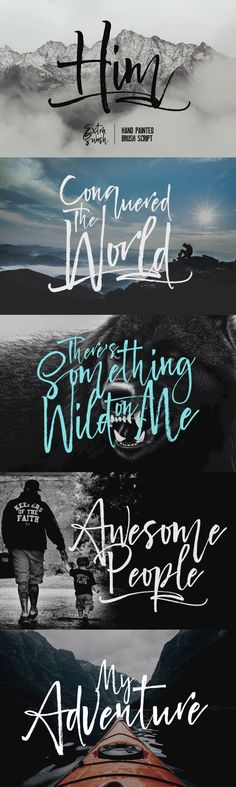 Him - Him is a hand painted brush script font with a touch of elegant handwriting, looks very classy, moder. Handwriting Styles, Handwriting Fonts, Script Fonts, Magazine Fonts, Women Laughing, Brush Script, Wedding Fonts, Design Quotes, Brushes