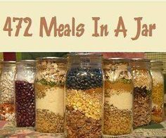 472 Meals In A Jar! Most of these have to have fresh ingredients added. Not self-contained complete meals in a jar from food storage. Mason Jar Meals, Meals In A Jar, Mason Jars, Mason Jar Recipes, Drink Recipes, Jar Gifts, Food Gifts, Freezer Meals, Easy Meals