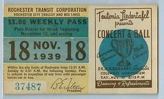 Rochester (New York) Transit Corporation weekly pass (1939)