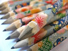 pencils wrapped with japanese washi paper