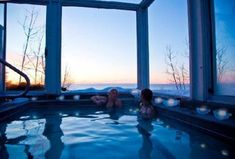 One of the most romantic hotels in Minnesota is Bluefin Bay. You can luxuriate in the Lakeside pool even in winter!