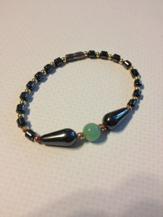 Jade Hematite and Gold Tone Colored Beaded by vintagerepublic1, $12.00
