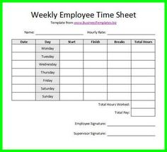 Example Image Daily Time Record  Work    Template