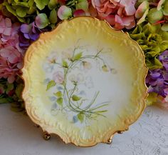 Antique Limoges Porcelain Hand Painted Artist Signed Plate Embossed Gold Gilt #2 #CoiffeLimoges