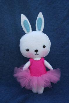 Small handmade wool felt bunny ballerina by JuneBugDolls on Etsy