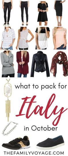 Fall capsule wardrobe for travel: what to pack for Italy in October - The Family Voyage Source by Look clothes Italy Packing List, Packing For Europe, Italy Travel Tips, Packing List For Travel, Packing Lists, Packing Hacks, Vacation Packing, Travel Trip, Travel Abroad