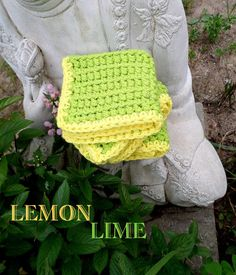 Lemon Lime Hand Crocheted Dish or Wash Cloth Set by NortherNights, $8.00