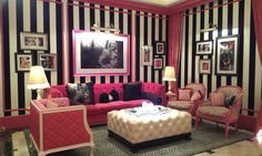 My dream living room & inspiration for my home. Black & white stripes, hot pink, leopard rug, tufted furniture, everything!!