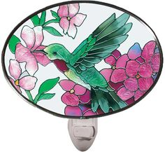 Hummingbird/Hydrangea Stained Glass Night Light