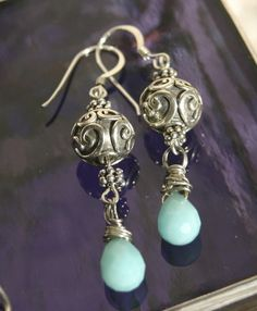 Bali Sterling Silver and Amazonite Teardrop Earrings
