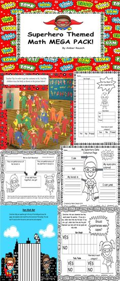 """I am offering all five of my superhero math lessons in a 30+ page mega pack. This bundle is a great addition to your """"Back to School Superhero"""" theme this fall or a compliment for """"Zero the Hero"""" and """"100th Day"""" activities later in the year. There are a lot of options in each of these lessons. This allows you to customize the learning for your student's individual needs. $"""