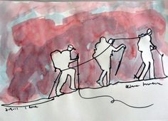 ARTFINDER: 1 Line - Mountaineers by Art as you Go - 1 Line drawing of a group of mountaineers hiking in the Alps. The 1 continuous line is a very innovative, experimental and rather difficult to execute techni...