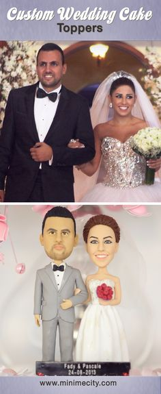 Custom Figurines From Your Photos! Funny Wedding Cake Toppers, Personalized Wedding Cake Toppers, Wedding Cake Stands, Custom Cake Toppers, Custom Cakes, Wedding Cakes, Wedding Cake Figurines, Bridal Shower Cakes, Cake Trends