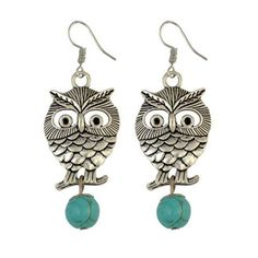 Ethnic Hollow Out Owl Hook Earrings