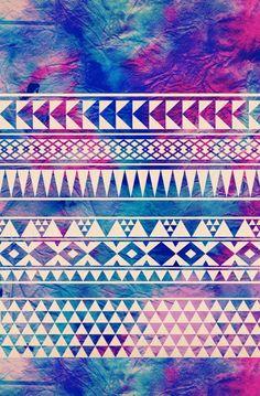 Aztec tie dye purple & blue wallpaper☆