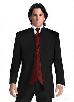 no-button-wedding-suits-black-groom-tuxedos.jpg (722×1000)