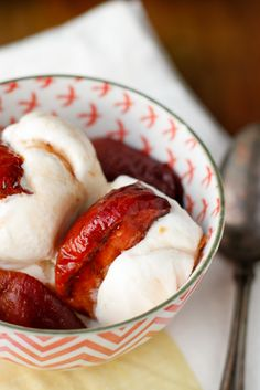 Grilled Peaches with Vanilla Brown Sugar Syrup -- if you've never tried grilling peaches, you are SO in for a treat. They're slightly smoky and caramelized, and I topped them off with an amazingly simple vanilla brown sugar syrup. Over vanilla ice cream, they're out of this world!