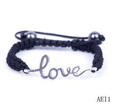$1.39  Silver Love Heart Crystal Bracelets Jewelry Gift Nylon