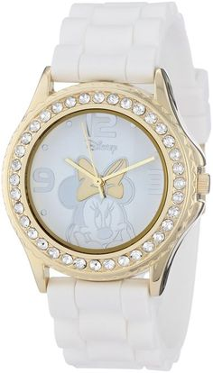 Disney Women's Rhinestone Accent Minnie Mouse White Rubber Strap Watch -- You can find more details by visiting the image link. (This is an affiliate link) Red Jewelry, Disney Jewelry, Rhinestone Jewelry, Pandora Jewelry, Red Rhinestone, Crystal Jewelry, Jewelry Accessories, Fashion Accessories, Minnie Mouse Images