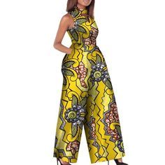 African Print Women Jumpsuit O-Neck Sleeveless Sexy Romper Wide African Print Women Jumpsuit O-Neck Sleeveless Autumn Sexy Romper Wide Leg Pants - Jumpsuits and Romper African Fashion Designers, Latest African Fashion Dresses, African Print Fashion, Africa Fashion, African Print Jumpsuit, African Print Dresses, African Dress, African Clothes, African Attire