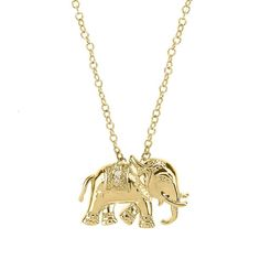 Matterial Fix Elephant Pendant with clear cubic zirconia inlays - Matterial Fix