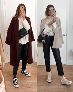 Winter Fashion Outfits, Fall Winter Outfits, Spring Outfits, Cashmere Jumper, Cashmere Wool, Outfits Otoño, Casual Outfits, Minimalist Winter Outfit, Leather Trousers Outfit