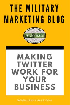 Struggling to make Twitter work for your business?  Twitter is great for B2B marketing, especially for military bloggers, military spouse business owners, and veteran entrepreneurs.  More from The Military Marketing Blog can be found at www.jennyhale.com/militarymarketingblog