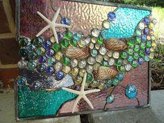 Stained Glass Window Tropical Starfish Sea Shell by HelioGlass