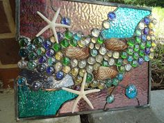 Stained Glass Window Tropical Starfish Sea Shell by HelioGlass