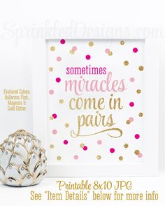 Sometimes Miracles Come In Pairs - Twin Nursery Decorations, Twin Girls Room Wall Art Printable, Bright Magenta Ballerina Pink Gold Glitter