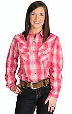 Wired Heart Women's Pink Plaid Western Shirt