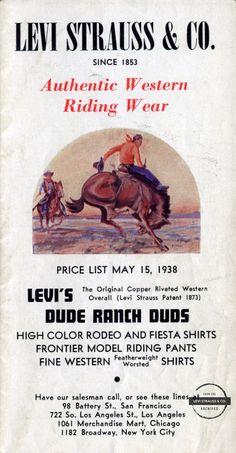 Western Riding, Riding Pants, Levi Strauss & Co, Vintage Levis, Workwear, Ads, Denim, Blue, Riding Breeches