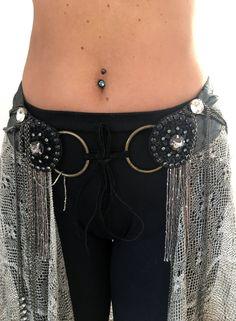 Silver Gypsy Tribal Belt, Silver Belt with Rhinestones, Steampunk Fashion, Burning Man Festival, Women Costume,Black  and Silver,Belly Dance by TreasuresByJana on Etsy